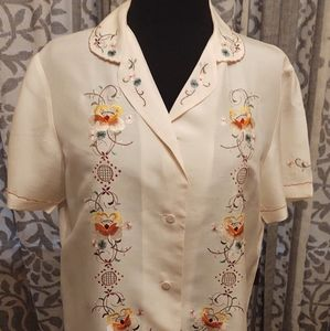 Creme Silk Embroidered Blouse